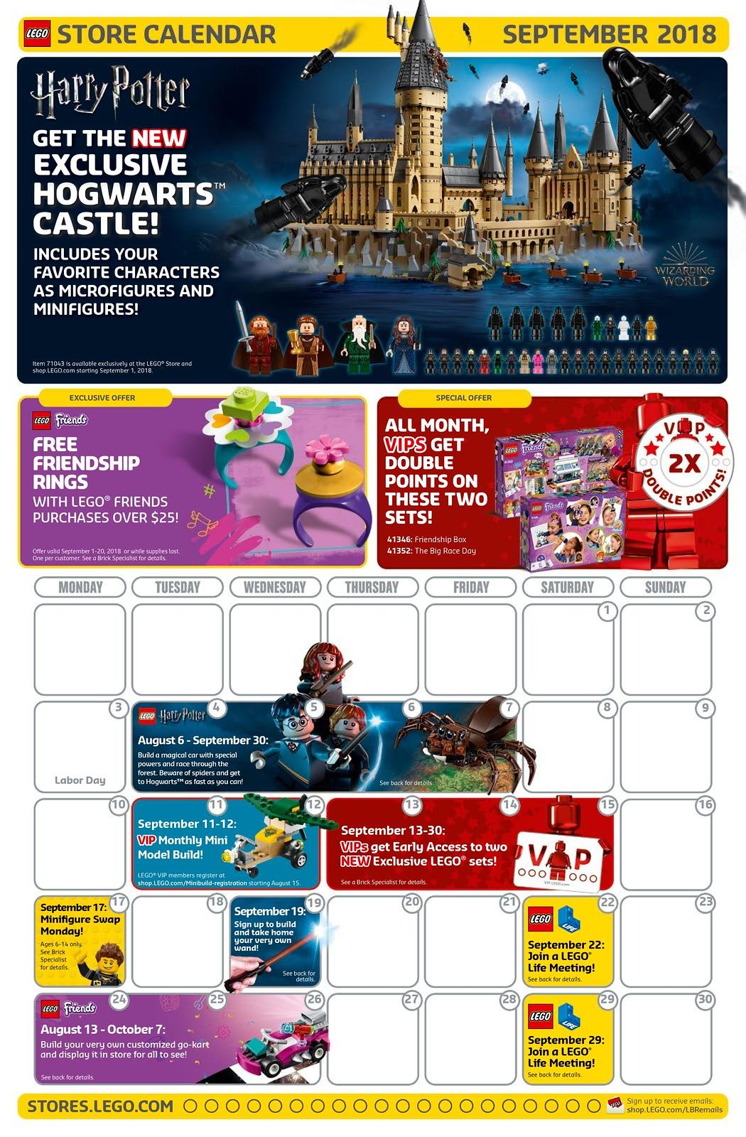 LEGO Brand Store Calendar September 2018