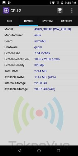 Asus Zenfone Max PRO M1 - CPUZ SoC