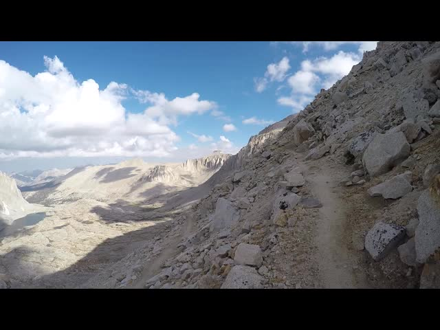 1363 Panorama video looking down from the John Muir Trail at 13000 feet as it climbs toward Trail Crest