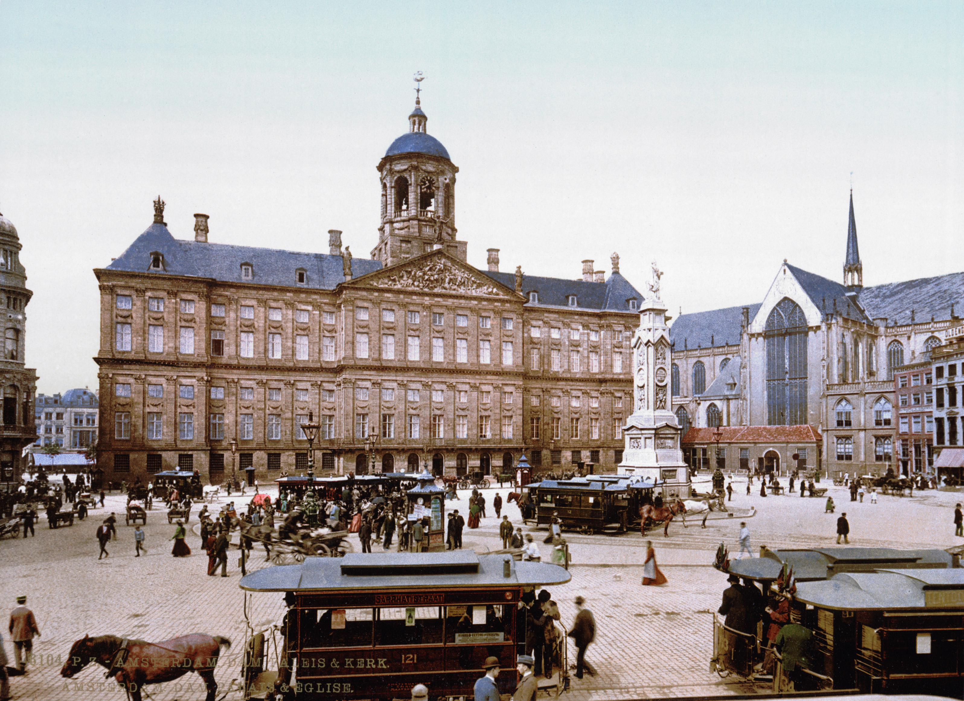 Horse-drawn streetcars at the Paleis op de Dam, Amsterdam, Netherlands between 1895 and 1900.