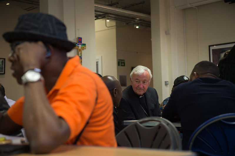 Cardinal Nichols visits the Jesuit Refugee Service centre in East London to hear the stories of those seeking sanctuary in the UK