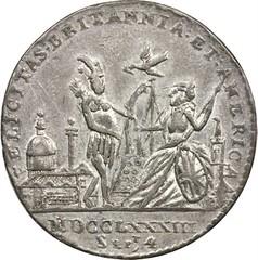 Betts-614 Felicitas Britannia et America medal obverse