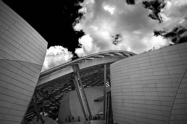 fine art black & white architectural details of the Louis Vuitton Foundation - Fondation Louis-Vuitton, 16th arrondissement, Paris, France