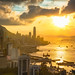 Hong Kong city skyline, Hong Kong sunset from Braemar hill a destination viewpoint to observe Victoria Harbour, Hong Kong