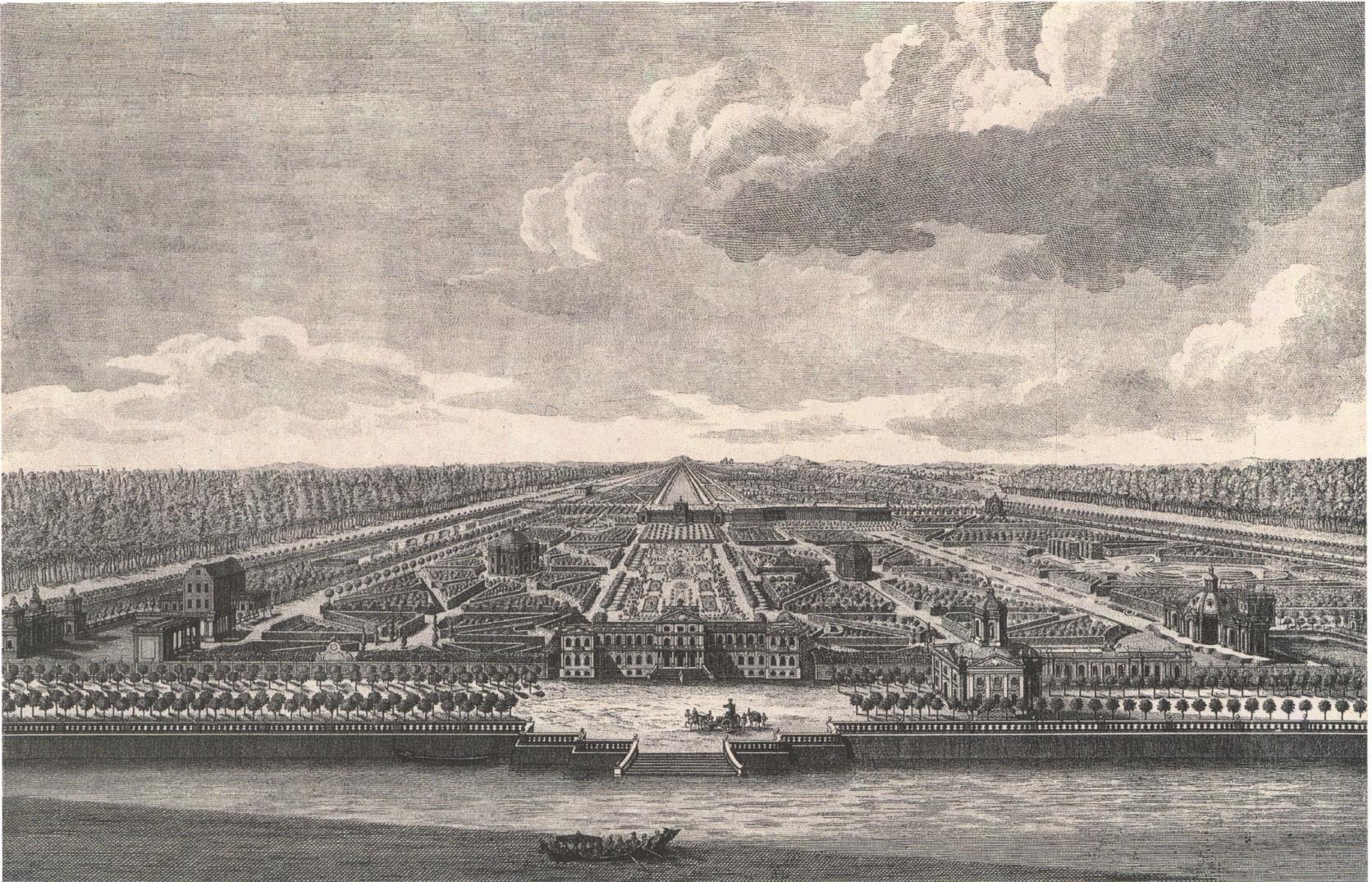 1760-е. Генеральный проспект подмосковного села Кусково от Большого пруда