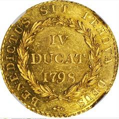 1798 Swiss Canton Bern 4 Ducats reverse