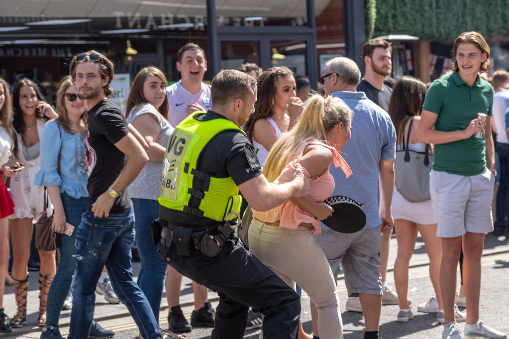 Large scale disorder in Brentwood Essex, following England win in World Cup match