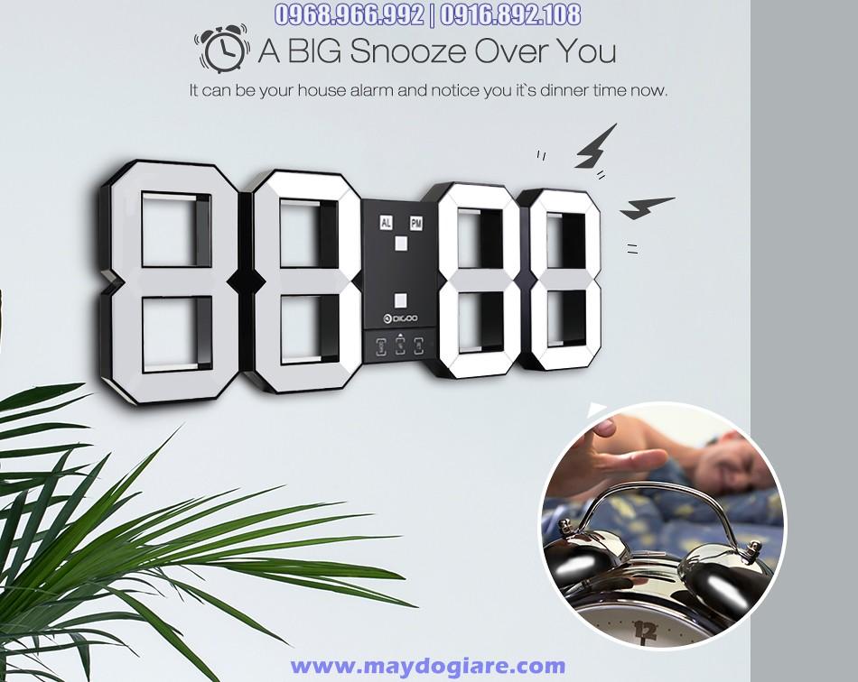 Đồng hồ LED treo tường 3D cỡ lớn có báo thức