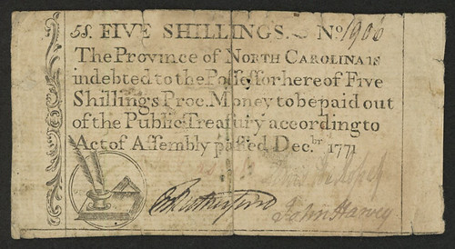 1771-Five-Shillings-North-Carolina-Colonial-Currency-Note