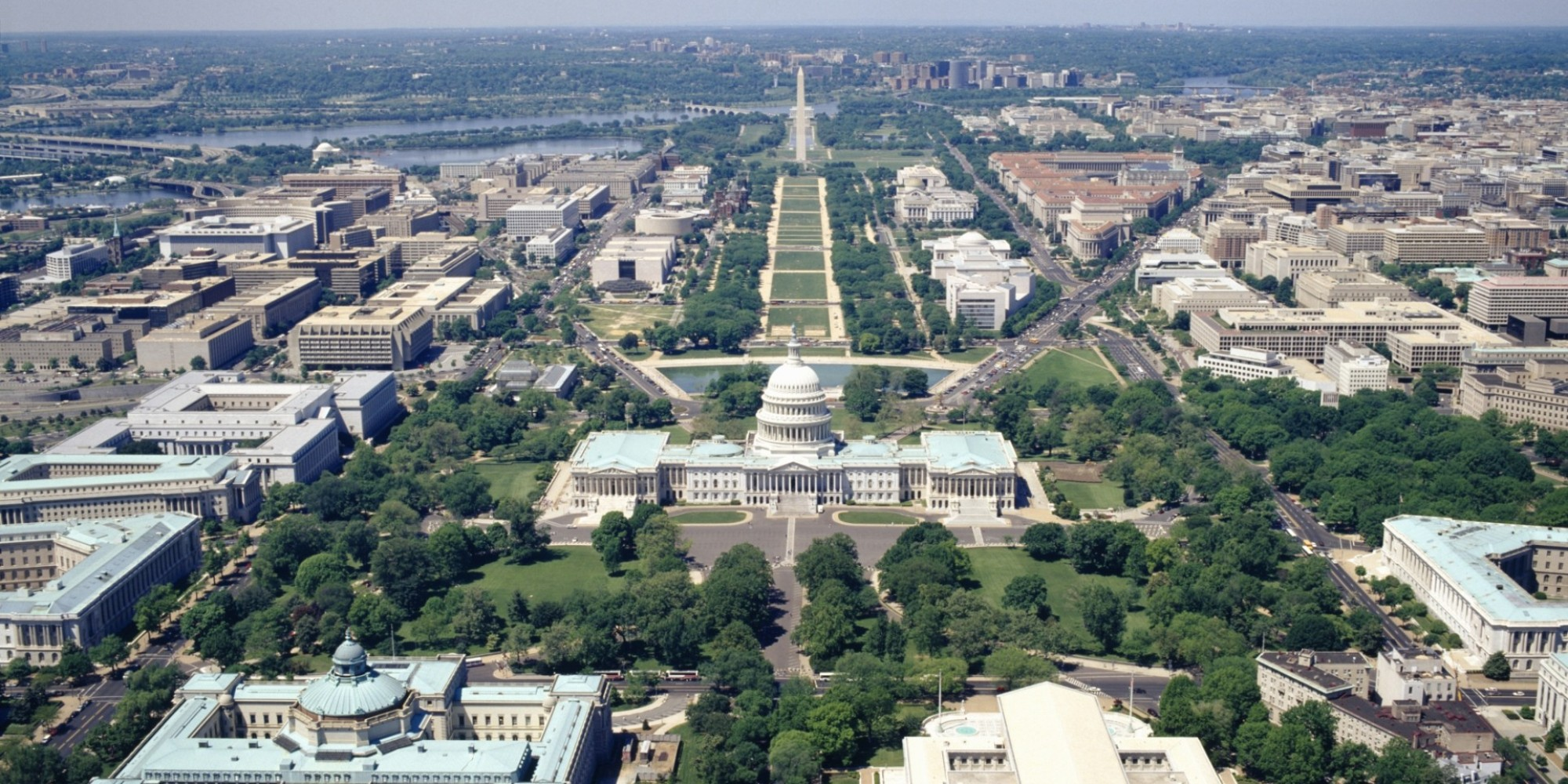 Aerial view of Washington, D.C. from the Library of Congress and U.S. Capitol Building in the foreground to the Washington Monument on the National Mall.
