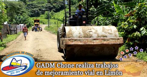 GADM Chone realiza trabajos de mejoramiento vial en Limón