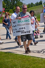 Protesting the Soon to be Built Foxconn Electronics Plant Mt. Pleasant Wisconsin 6-28-18  2082