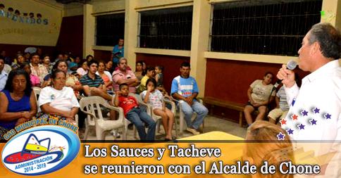Los Sauces y Tacheve se reunieron con el Alcalde de Chone
