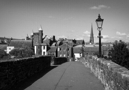 devorgillabridge bridge dumfries scotland pedestrian buildings architecture history historical city town urban blackandwhite mono bw art artwork light lamp wall spire trees road monochrome sky tower