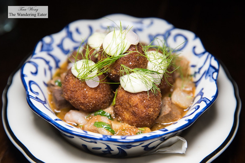 Salt cod and pulled pork fritters, lemon mayo, pickled ramps