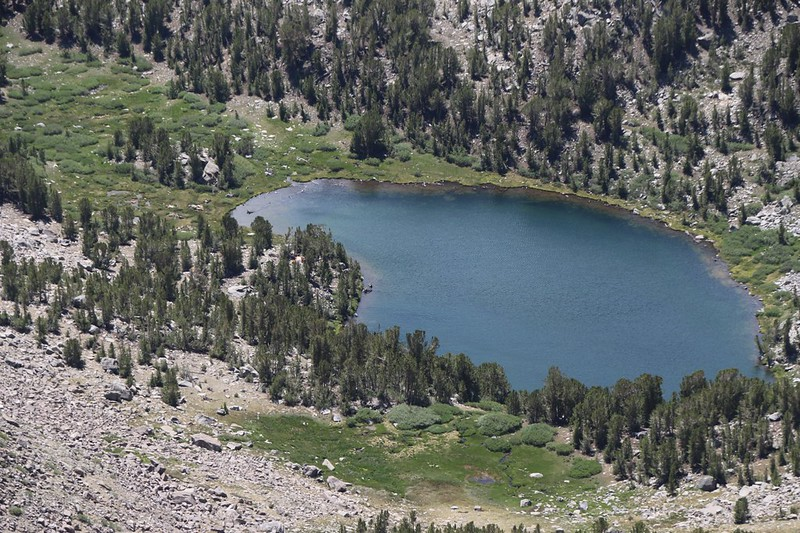 Zoomed-in view of Seventh Lake and our tent on the left side from Cloudripper's eastern ridge