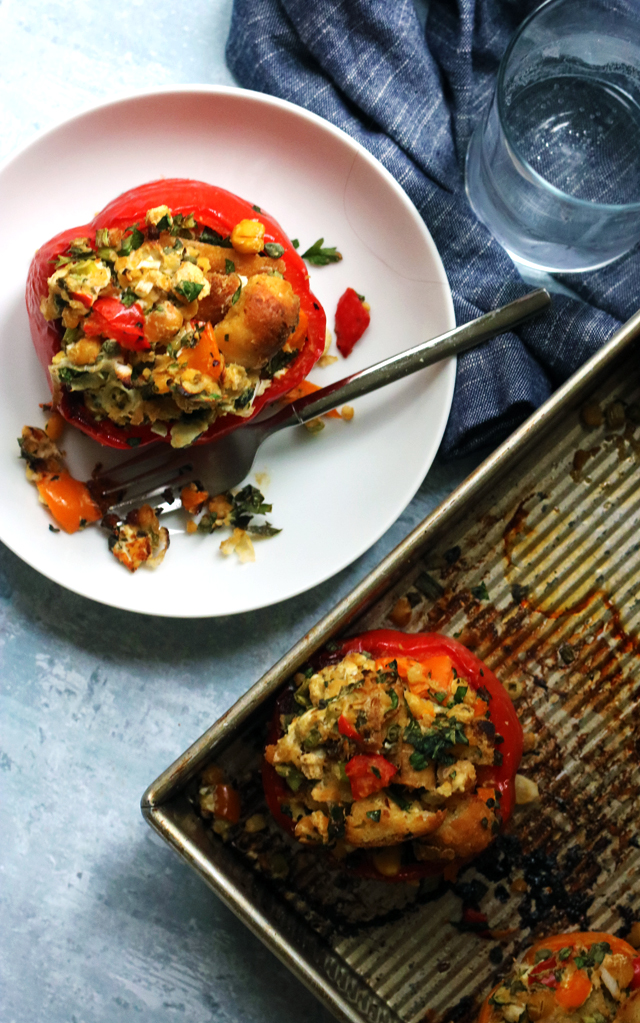 Roasted Stuffed Peppers with Chickpeas, Goat Cheese, and Herbs