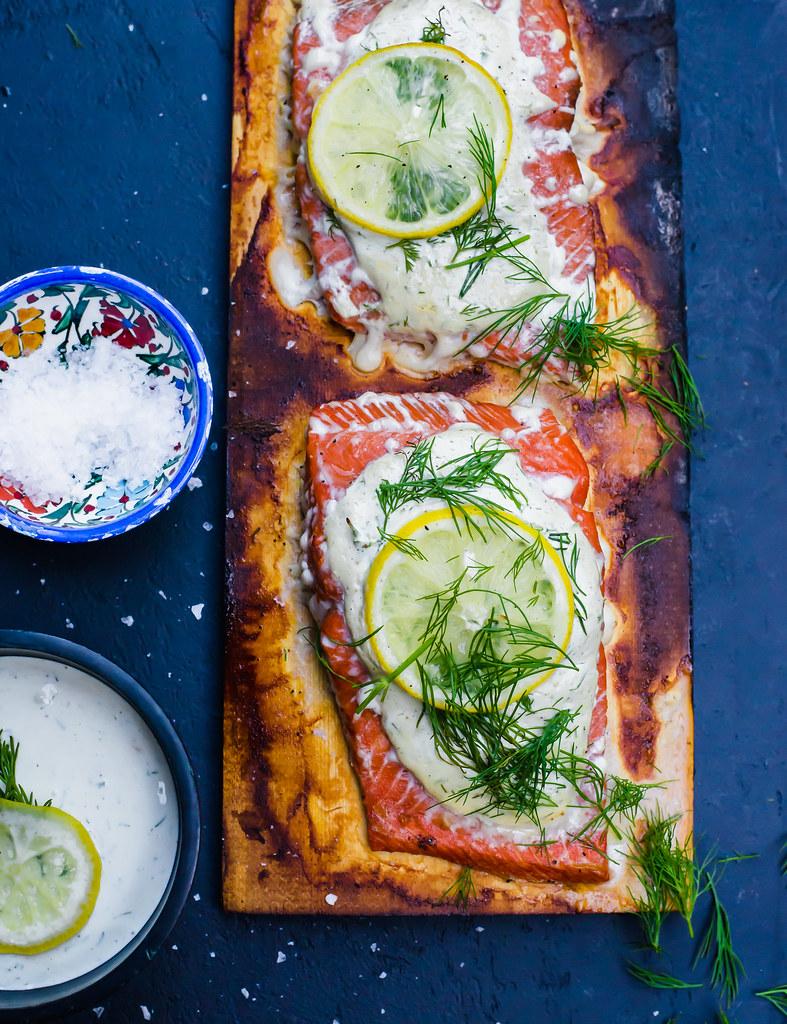 Cedar Plank Salmon with Creamy Dill Sauce and Fresh Lemon