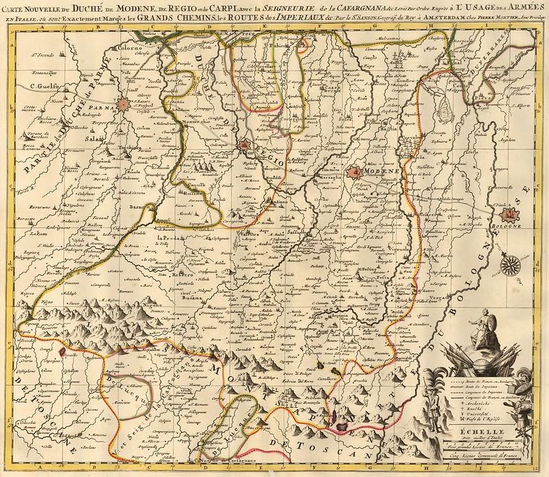 Pieter Mortier - Carte Nouvelle du Duche de Modene, de Regio et de Capri (c.1700)