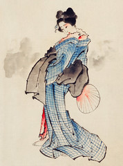 Woman, Full-Length Portrait, Standing, Facing Left, Holding Fan in Right Hand, Wearing Kimono with Check Design by Katsushika Hokusai (1760-1849), a traditional Japanese Ukyio-e style illustration of a Japanese woman in kimono. Digitally enhanced from our