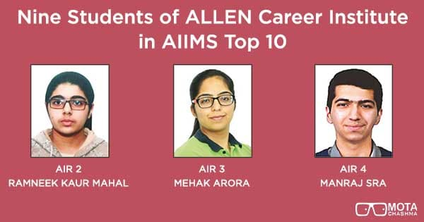 nine students of allen career institute in aiims top 10