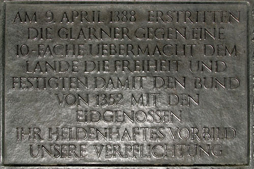 A commemorative plaque at the Battle of Näfels memorial near Näfels. Photo taken on July 4, 2006.