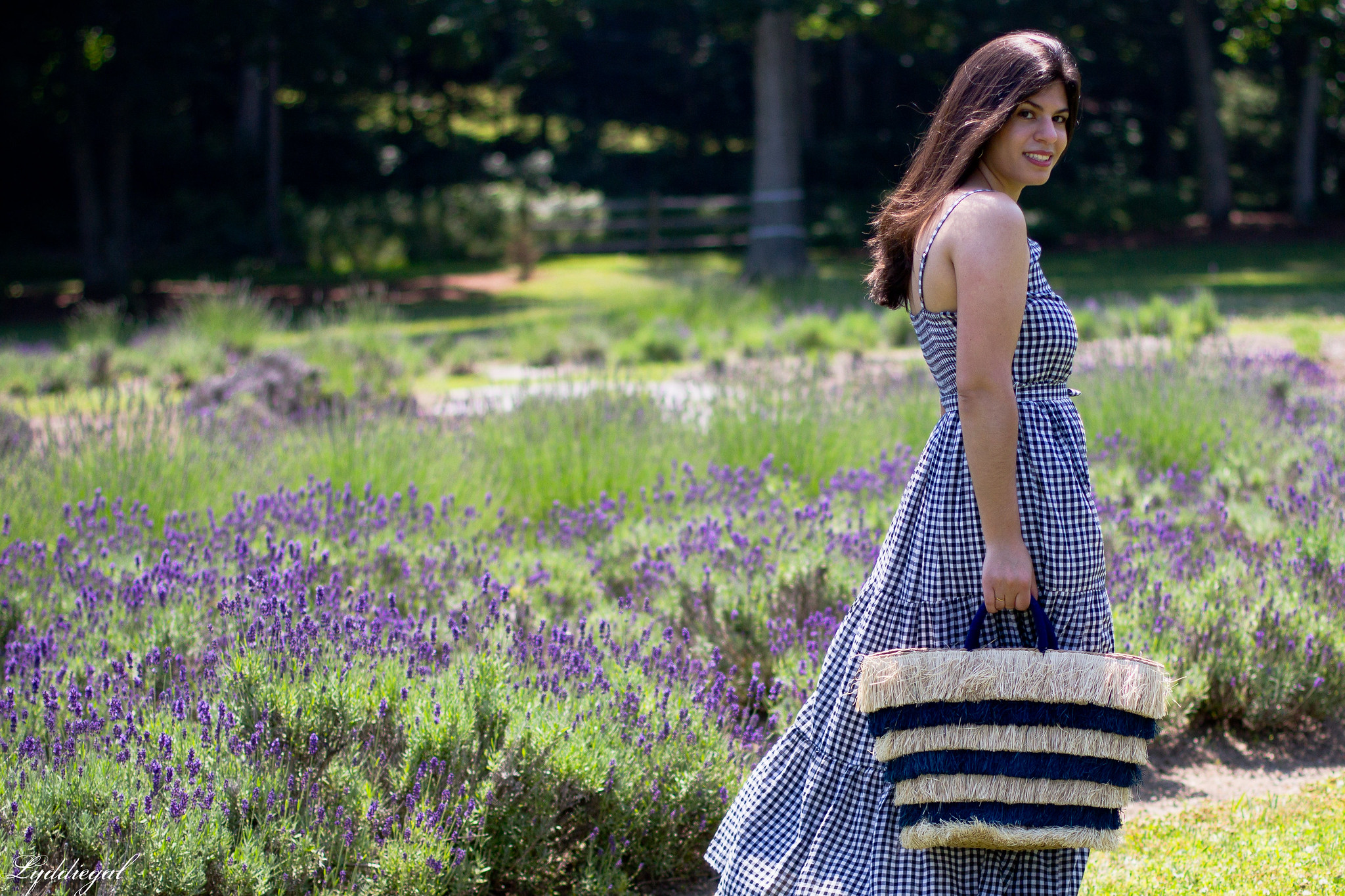 gingham maxi dress, pinata tote bag, lavender field-5.jpg