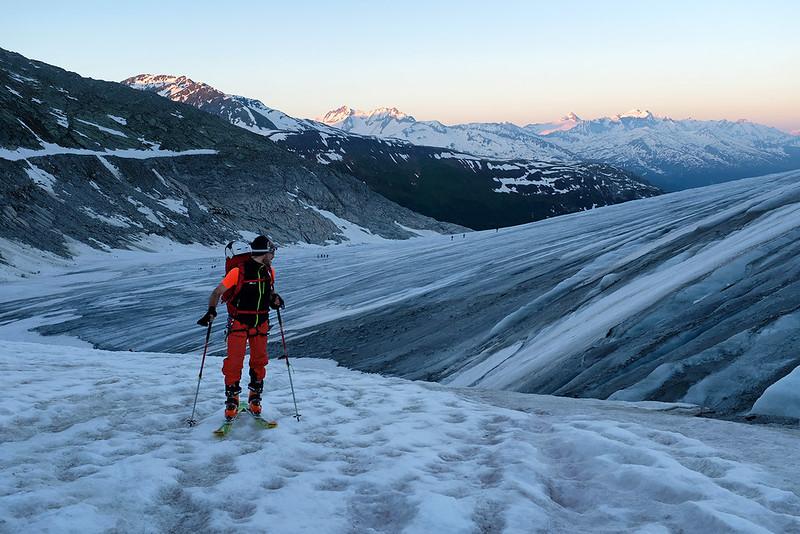 Scialpinismo al Dammastock, la prima parte del Ghiacciaio del Rodano
