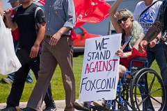 Protesting the Soon to be Built Foxconn Electronics Plant Mt. Pleasant Wisconsin 6-28-18  2092