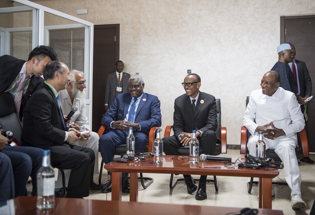 President Kagame, President Alpha Condé of Guinea and AU Chairperson Moussa Faki meet with the CEO of Soft Bank Masayoshi Son to discuss investment in solar energy in Africa on the sidelines of the AU Summit | Mauritania, 2 July 2018