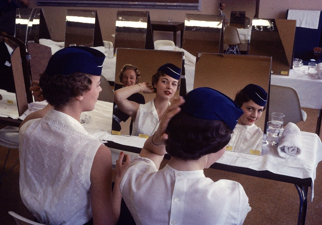 Stewardesses in training at the American Airlines college for new flight attendants in Texas, 1958. (Peter StackpoleThe Life Picture CollectionGetty Images)