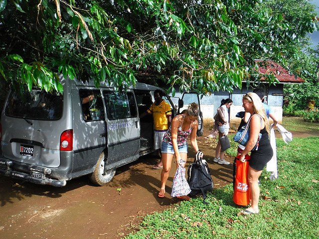 Venturesome Antipodean travellers getting ready to go on the millenium cave Tour in Santo, Vanuatu