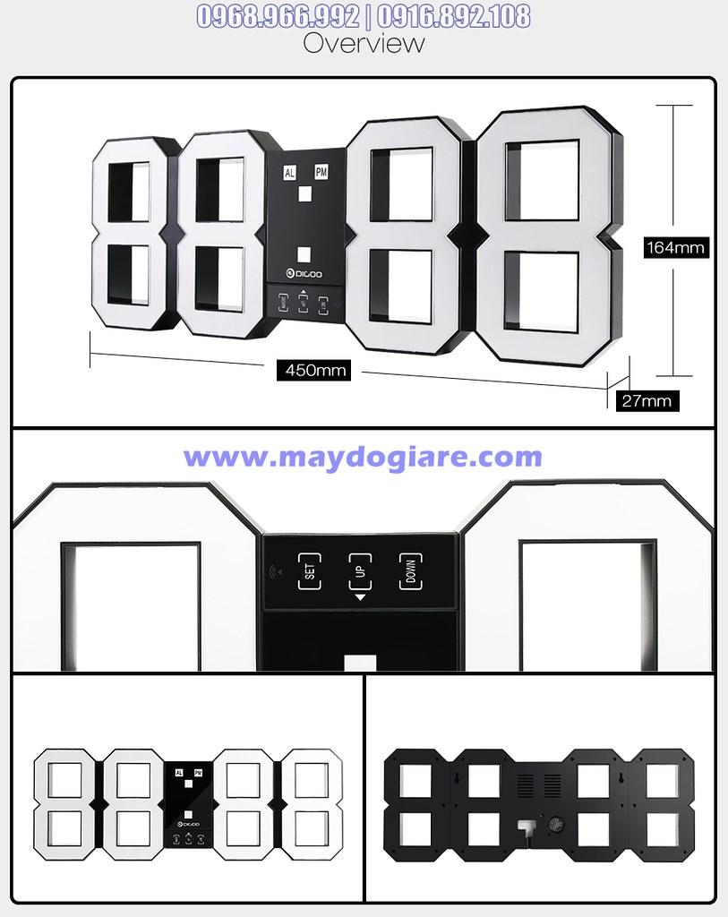 Kích thước và chi tiết đồng hồ LED 3D treo tường cỡ lớn 20'
