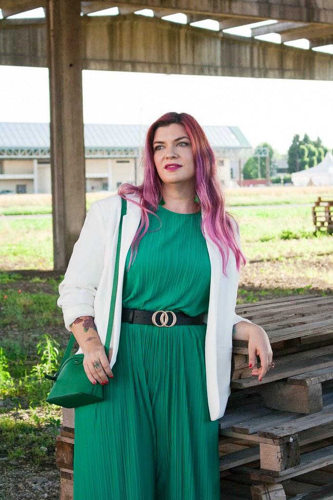 Outfit plus size tuta monki verde e blaze bianco (6)