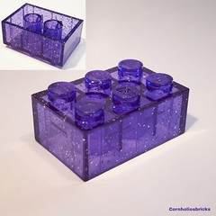 Unreleased lego transparent purple glitter Brick 2 x 3 Item No: 3002