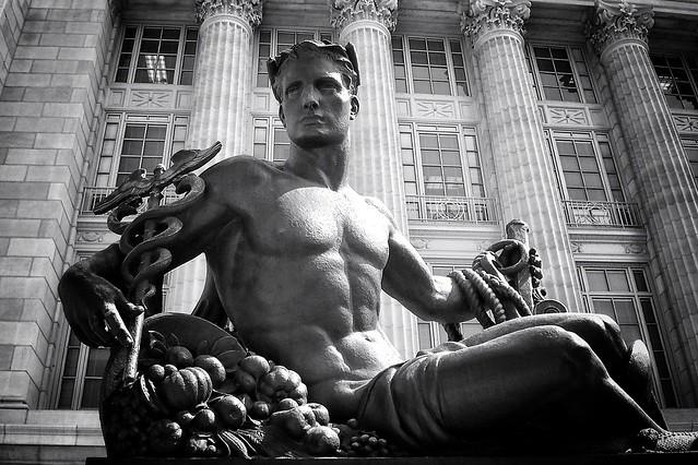 Jefferson City Missouri - Missouri State Capitol Grounds Statehood Statue - Monochrome