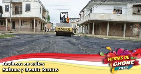 Bacheos en calles Salinas y Benito Santos