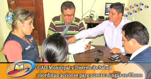 GAD Municipal y Distrito de Salud coordinan acciones para nuevas mingas en Chone