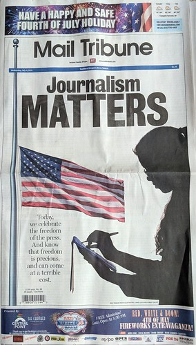 Journalism Matters - Front page news - 4th of July