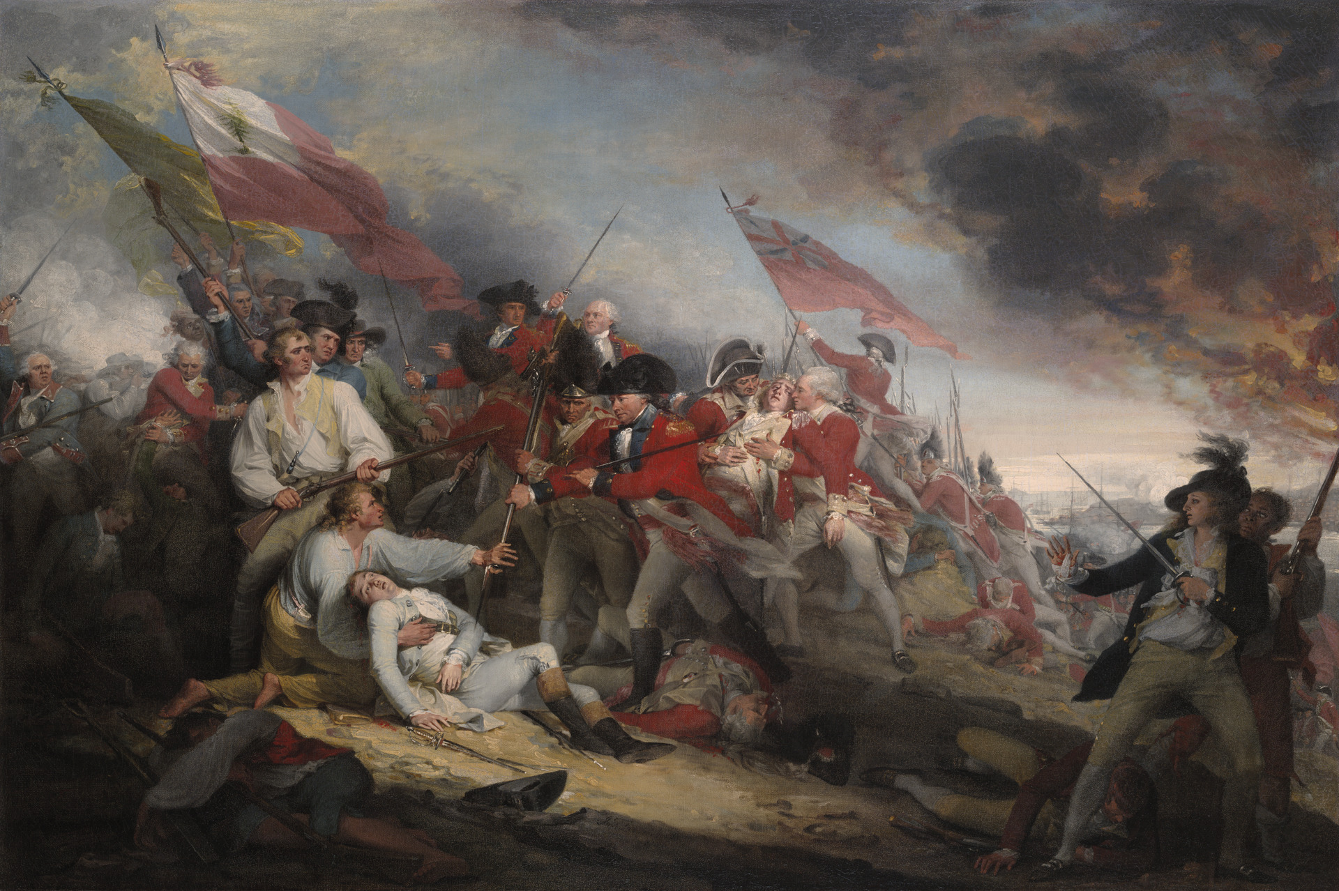 The Death of General Warren at the Battle of Bunker's Hill, June 17,1775, by John Trumbull, oil on canvas (25 5/8 x 37 5/8 in. or 65.1 x 95.6 cm) framed: 32 1/4 x 44 1/2 x 3 in. or 81.92 x 113.03 x 7.62 cm), 1786. Currently at the Gallery of Fine Arts, Yale University, New Haven, Connecticut.