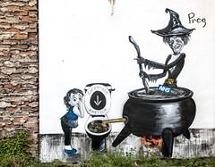 NHS protest street art by Preg.
