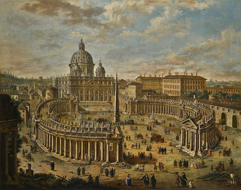 Jacopo Fabris - Rome, a panoramic view of Saint Peter's square, the basilica beyond