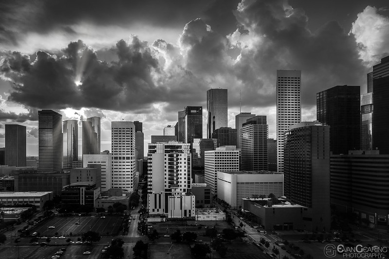 Downtown Houston in BW