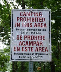 Camping Prohibited sign beside the Willamette River in Eugene, Oregon