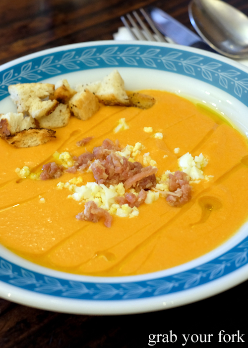 Salmorejo chilled tomato soup at Gure Txoko Basque Club in Sydney