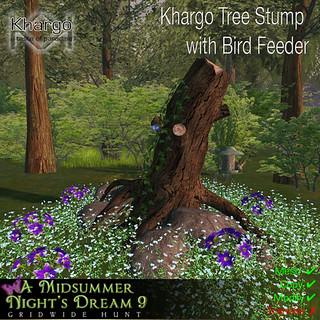 Khargo Tree Stump with Bird Feeder