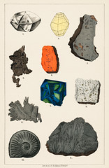 Natural History concept print (1880) by Emil Hochdanz (1816-1855), a collection of colorful gemstones. Digitally enhanced from our own original chromolithographic plate.
