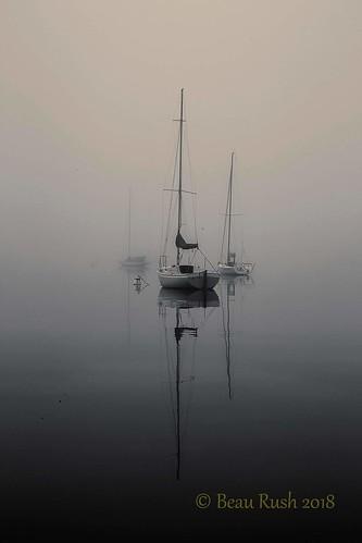 harborsprings littletraversebay lakemichigan greatlakes lakelife lake water waterways sunrise fog foggy boat boating boats blackandwhite landscape landscapes eerie haunted