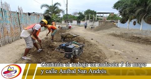Continúa el trabajo en malecón 5 de mayo y calle Aníbal San Andrés