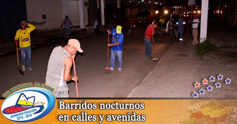 Barridos nocturnos en calles y avenidas